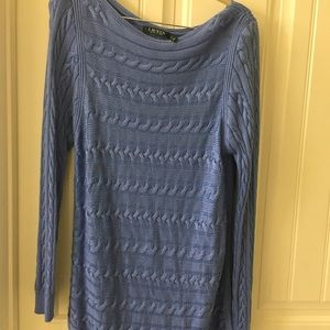 Blue horizontal cable knit long sleeve tunic.
